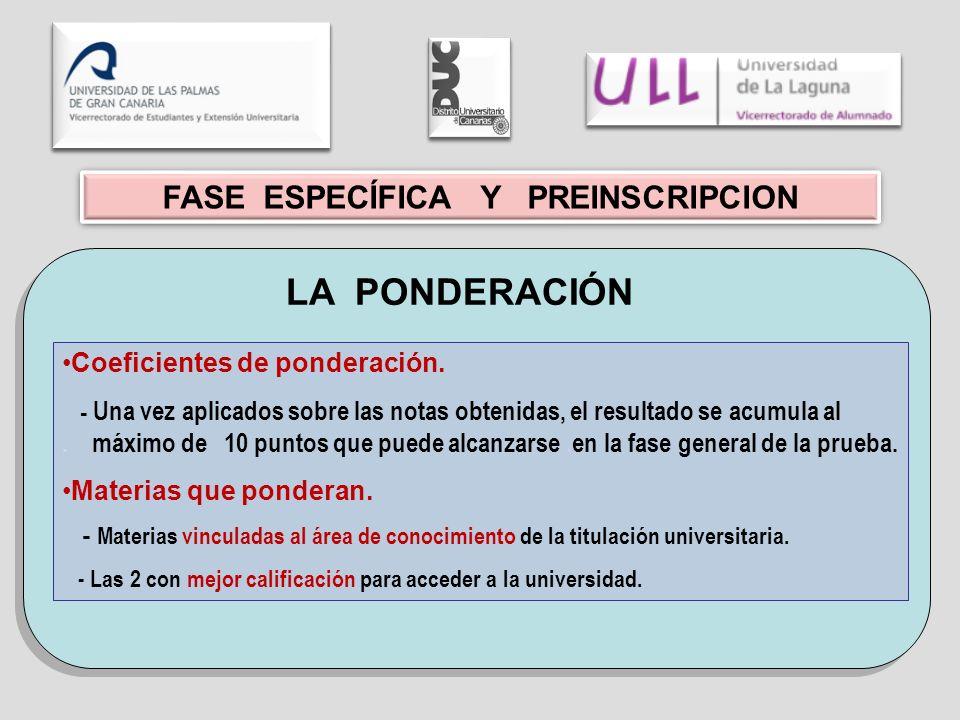 FASE ESPECÍFICA Y PREINSCRIPCION LA PONDERACIÓN Coeficientes de ponderación.