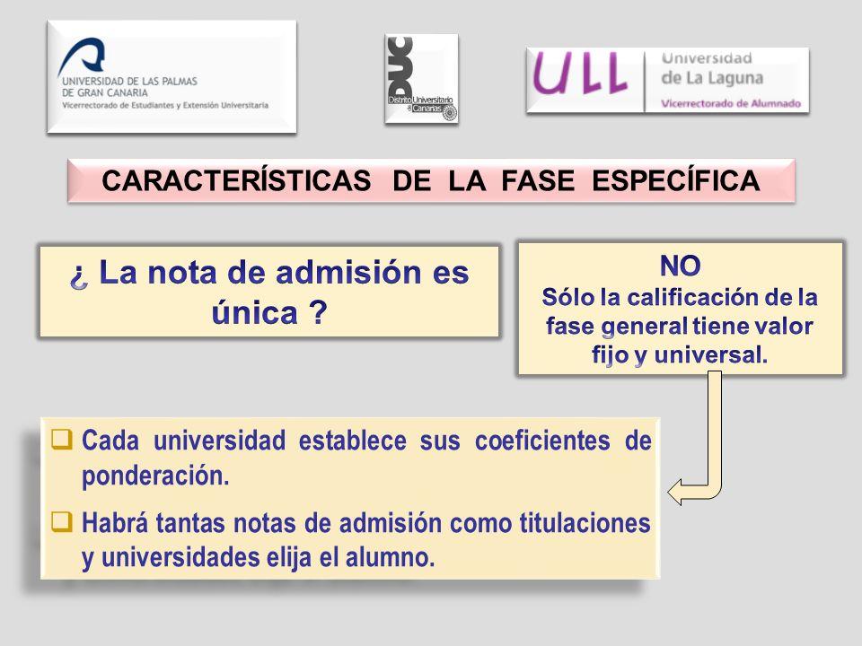 Cada universidad establece sus coeficientes de ponderación. Habrá tantas notas de admisión como titulaciones y universidades elija el alumno. Cada uni