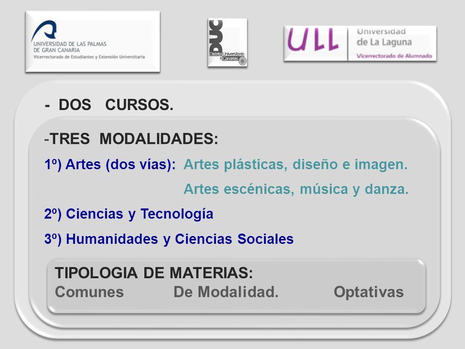 - DOS CURSOS. -TRES MODALIDADES: 1º) Artes (dos vías): Artes plásticas, diseño e imagen. Artes escénicas, música y danza. 2º) Ciencias y Tecnología 3º