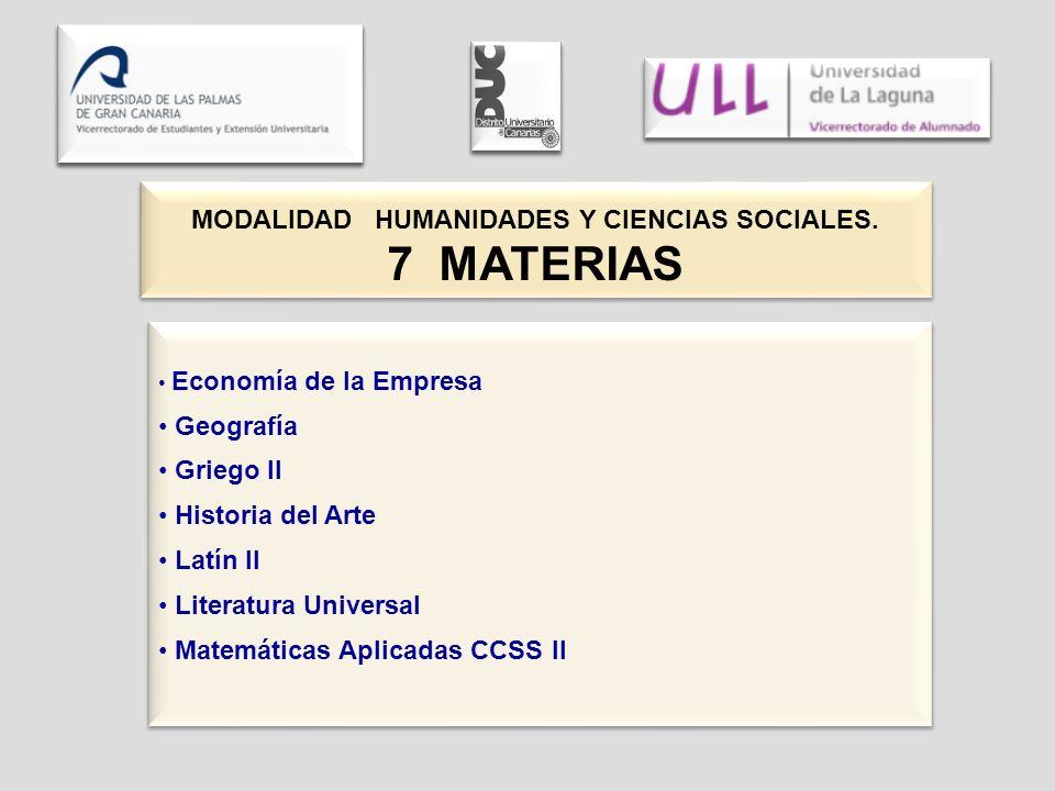MODALIDAD HUMANIDADES Y CIENCIAS SOCIALES. 7 MATERIAS MODALIDAD HUMANIDADES Y CIENCIAS SOCIALES. 7 MATERIAS Economía de la Empresa Geografía Griego II