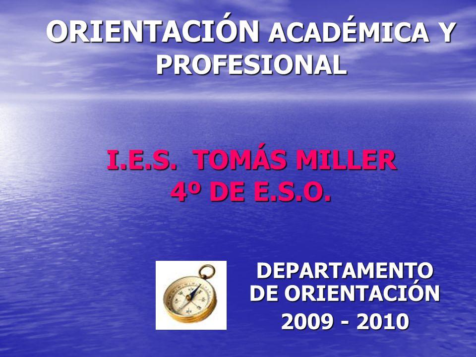 ORIENTACIÓN ACADÉMICA Y PROFESIONAL I.E.S.TOMÁS MILLER 4º DE E.S.O.