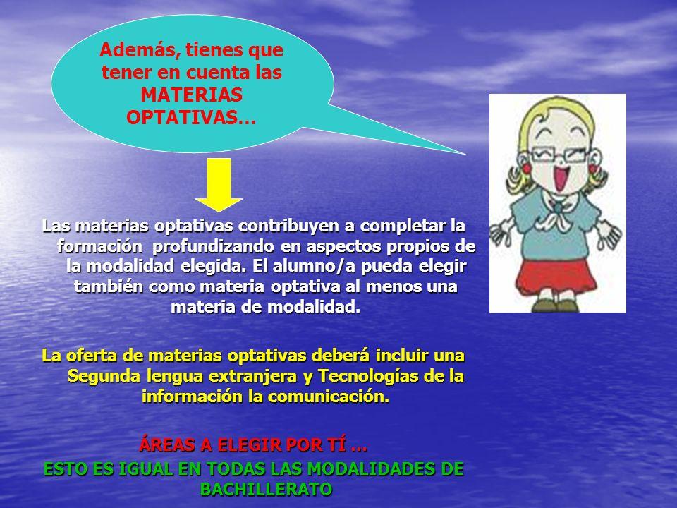 MATERIAS DE MODALIDAD VINCULADAS A LA OPCIÓN, HUMANIDADES Y CIENCIAS SOCIALES Mod.