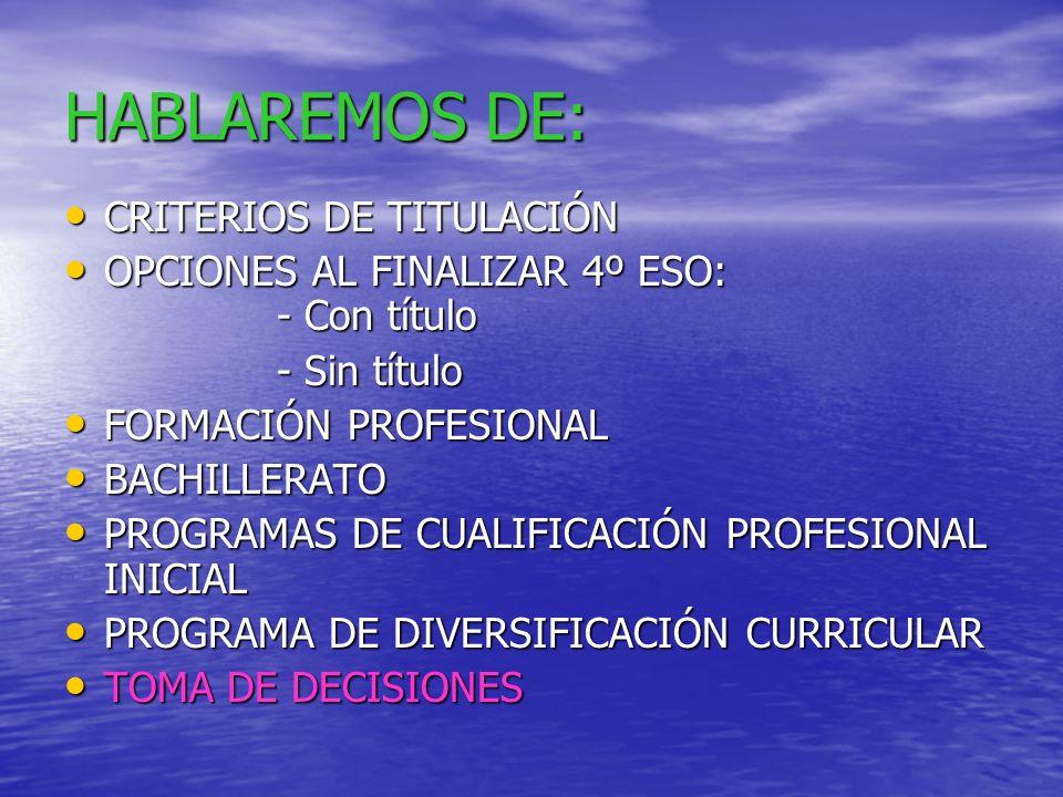 HABLAREMOS DE: CRITERIOS DE TITULACIÓN CRITERIOS DE TITULACIÓN OPCIONES AL FINALIZAR 4º ESO: - Con título OPCIONES AL FINALIZAR 4º ESO: - Con título - Sin título FORMACIÓN PROFESIONAL FORMACIÓN PROFESIONAL BACHILLERATO BACHILLERATO PROGRAMAS DE CUALIFICACIÓN PROFESIONAL INICIAL PROGRAMAS DE CUALIFICACIÓN PROFESIONAL INICIAL PROGRAMA DE DIVERSIFICACIÓN CURRICULAR PROGRAMA DE DIVERSIFICACIÓN CURRICULAR TOMA DE DECISIONES TOMA DE DECISIONES