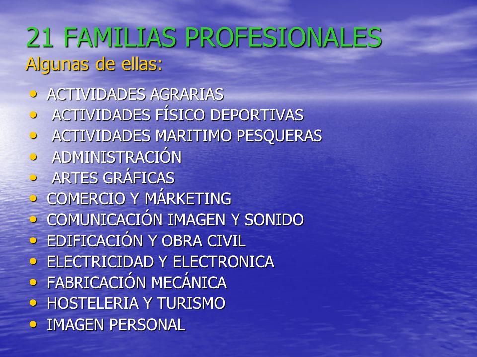 21 FAMILIAS PROFESIONALES Algunas de ellas: ACTIVIDADES AGRARIAS ACTIVIDADES AGRARIAS ACTIVIDADES FÍSICO DEPORTIVAS ACTIVIDADES FÍSICO DEPORTIVAS ACTIVIDADES MARITIMO PESQUERAS ACTIVIDADES MARITIMO PESQUERAS ADMINISTRACIÓN ADMINISTRACIÓN ARTES GRÁFICAS ARTES GRÁFICAS COMERCIO Y MÁRKETING COMERCIO Y MÁRKETING COMUNICACIÓN IMAGEN Y SONIDO COMUNICACIÓN IMAGEN Y SONIDO EDIFICACIÓN Y OBRA CIVIL EDIFICACIÓN Y OBRA CIVIL ELECTRICIDAD Y ELECTRONICA ELECTRICIDAD Y ELECTRONICA FABRICACIÓN MECÁNICA FABRICACIÓN MECÁNICA HOSTELERIA Y TURISMO HOSTELERIA Y TURISMO IMAGEN PERSONAL IMAGEN PERSONAL