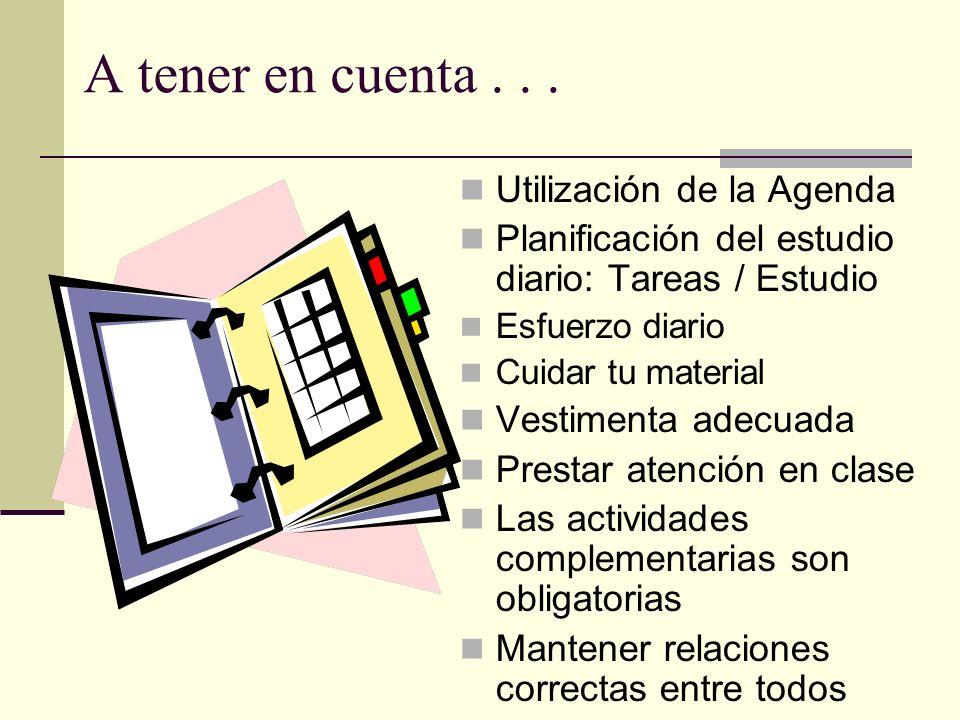 A tener en cuenta... Utilización de la Agenda Planificación del estudio diario: Tareas / Estudio Esfuerzo diario Cuidar tu material Vestimenta adecuad