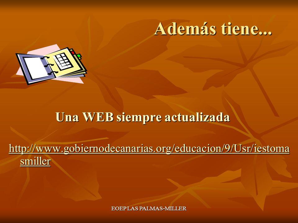 EOEP LAS PALMAS-MILLER Además tiene... Además tiene... Una WEB siempre actualizada Una WEB siempre actualizada http://www.gobiernodecanarias.org/educa