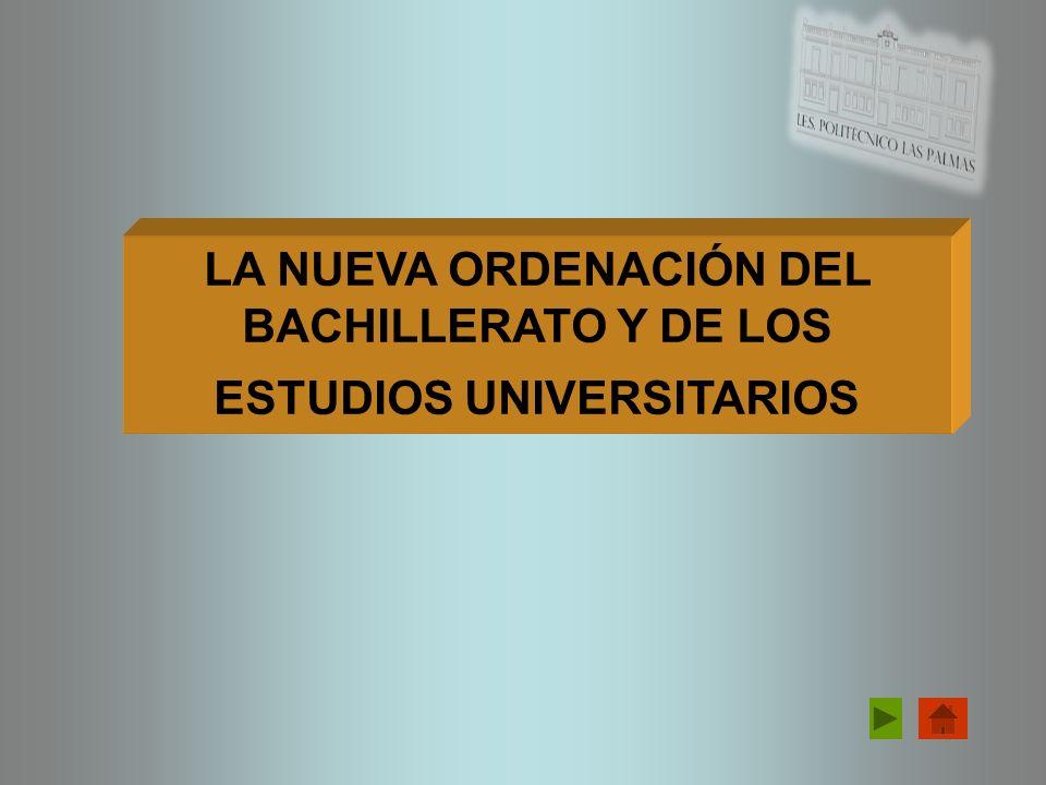 ÍNDICE EL NUEVO BACHILLERATO NUEVAS ENSEÑANZAS UNIVERSITARIAS PRUEBAS ACCESO A LA UNIVERSIDAD 1 2 3