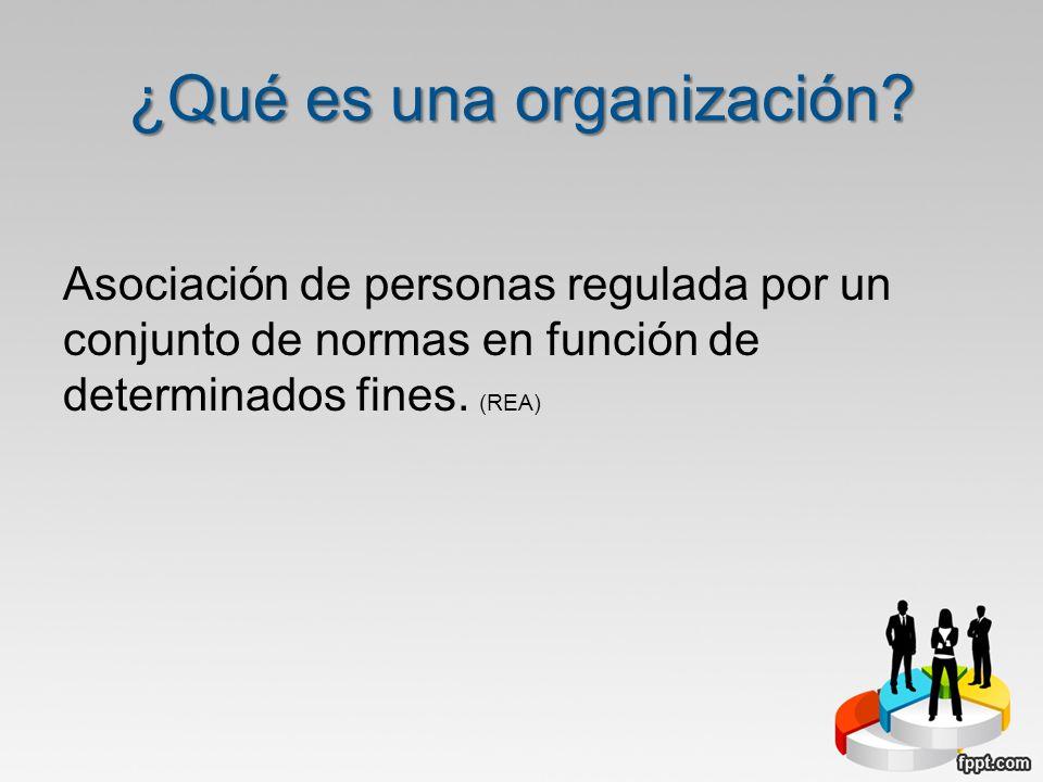 ¿Qué es una organización? Asociación de personas regulada por un conjunto de normas en función de determinados fines. (REA)