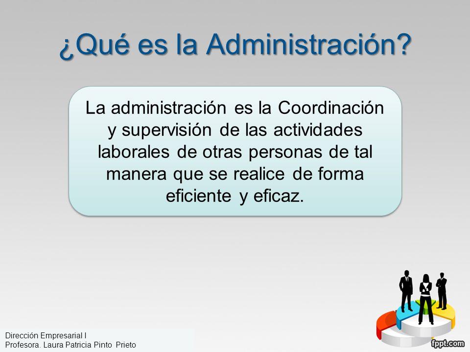 ¿Qué es la Administración? La administración es la Coordinación y supervisión de las actividades laborales de otras personas de tal manera que se real