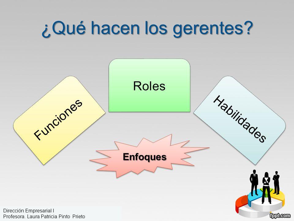 ¿Qué hacen los gerentes? Funciones Roles Habilidades EnfoquesEnfoques Dirección Empresarial I Profesora. Laura Patricia Pinto Prieto