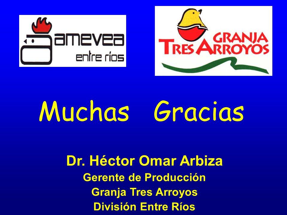 Dr. Héctor Omar Arbiza Gerente de Producción Granja Tres Arroyos División Entre Ríos Muchas Gracias