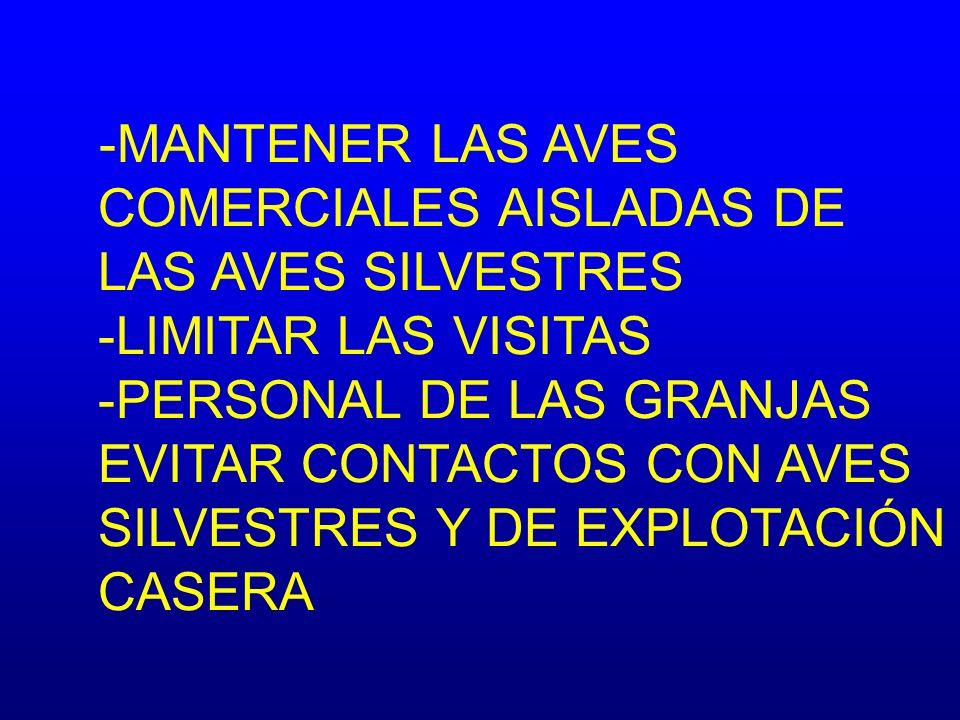 -MANTENER LAS AVES COMERCIALES AISLADAS DE LAS AVES SILVESTRES -LIMITAR LAS VISITAS -PERSONAL DE LAS GRANJAS EVITAR CONTACTOS CON AVES SILVESTRES Y DE