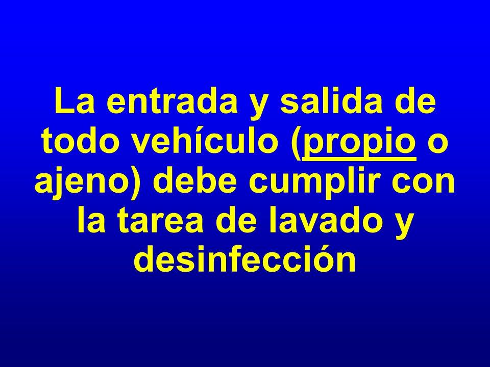 La entrada y salida de todo vehículo (propio o ajeno) debe cumplir con la tarea de lavado y desinfección