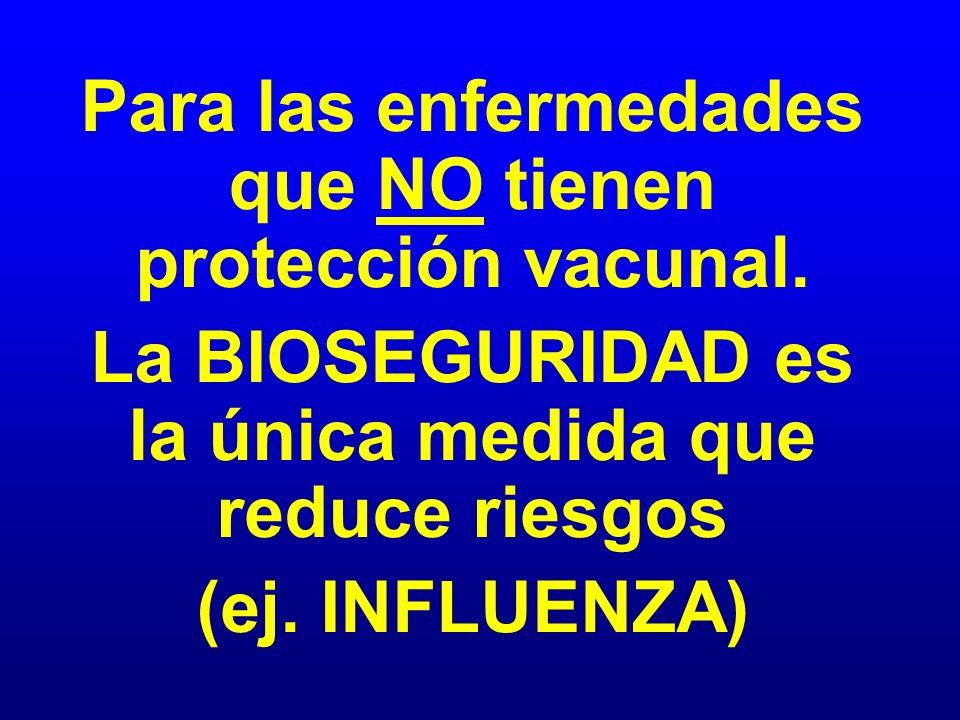 Para las enfermedades que NO tienen protección vacunal. La BIOSEGURIDAD es la única medida que reduce riesgos (ej. INFLUENZA)
