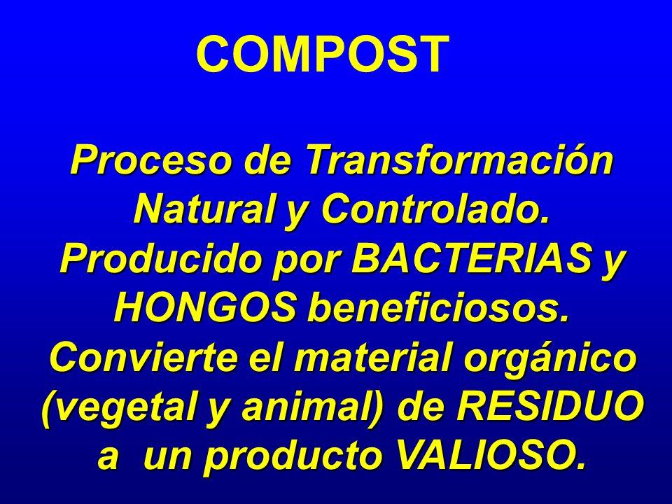 COMPOST Proceso de Transformación Natural y Controlado. Producido por BACTERIAS y HONGOS beneficiosos. Convierte el material orgánico (vegetal y anima