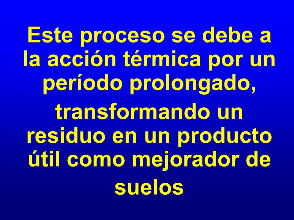 Este proceso se debe a la acción térmica por un período prolongado, transformando un residuo en un producto útil como mejorador de suelos