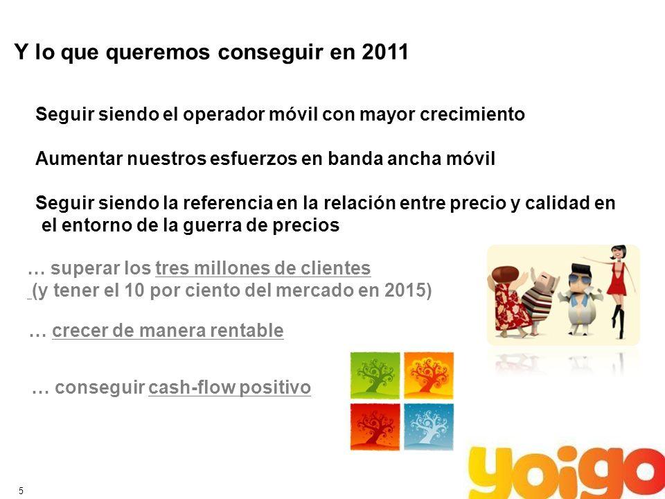 5 Y lo que queremos conseguir en 2011 … superar los tres millones de clientes (y tener el 10 por ciento del mercado en 2015) … crecer de manera rentab