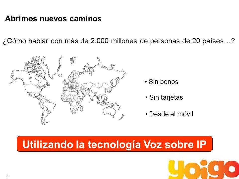 9 Abrimos nuevos caminos ¿Cómo hablar con más de 2.000 millones de personas de 20 países…? Sin bonos Sin tarjetas Desde el móvil Utilizando la tecnolo