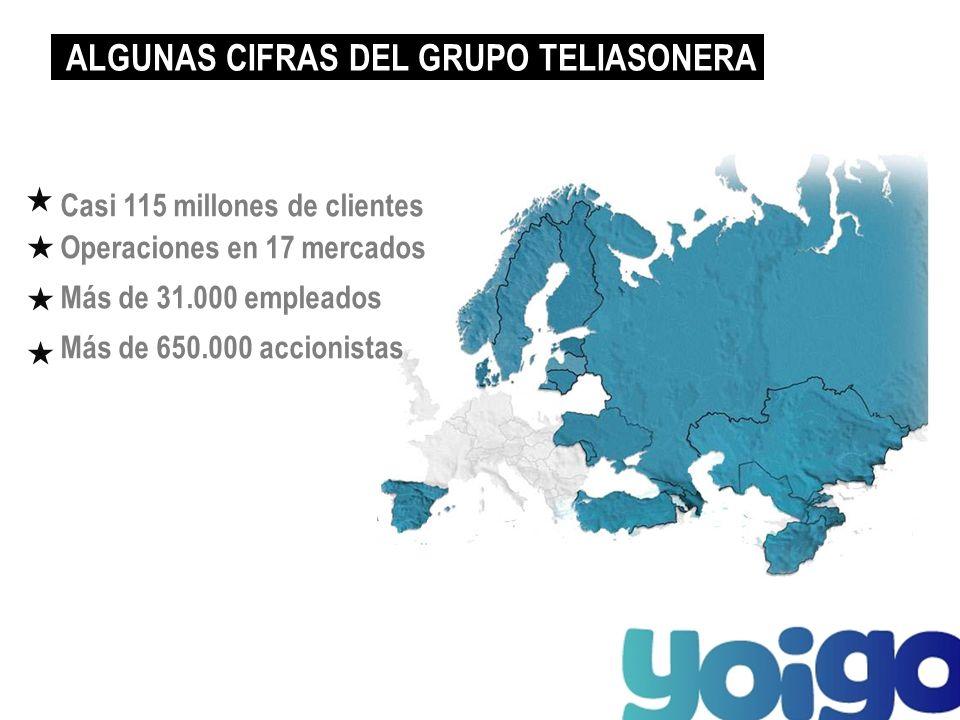 Casi 115 millones de clientes Operaciones en 17 mercados Más de 31.000 empleados Más de 650.000 accionistas ALGUNAS CIFRAS DEL GRUPO TELIASONERA