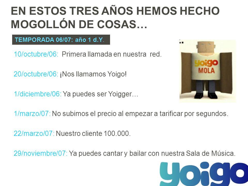 10/octubre/06: Primera llamada en nuestra red. 20/octubre/06: ¡Nos llamamos Yoigo.