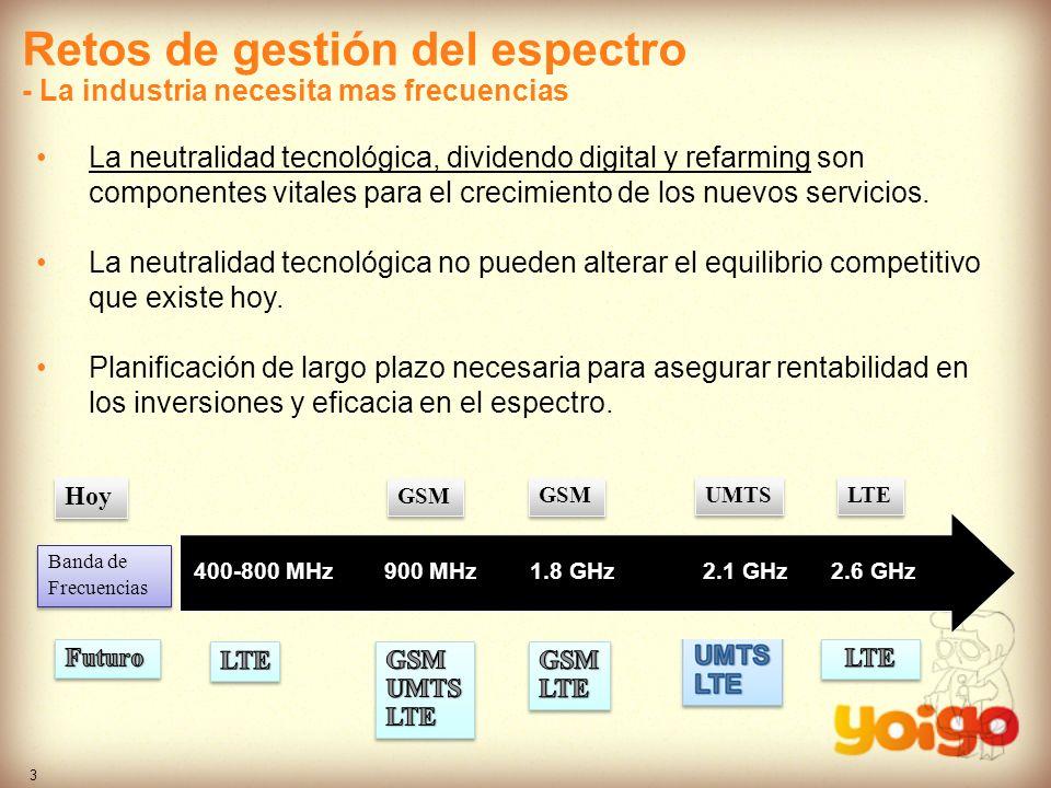 3 900 Mhz1,8 Ghz2,1 Ghz2,6 Ghz Hoy GSM 900 MHz1.8 GHz2.1 GHz2.6 GHz400-800 MHz Banda de Frecuencias Banda de Frecuencias GSM UMTS LTE Retos de gestión