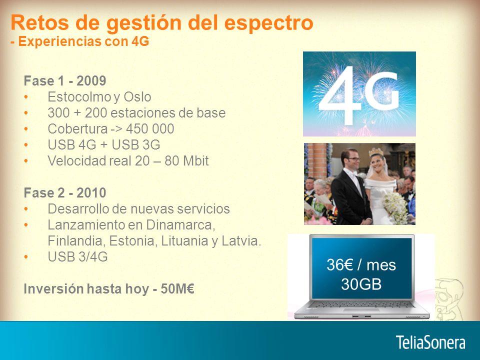 7 Precio en relación al consumo Volumen Velocidad 2G 3G 4G 1-10 MB/s 10-100 MB/s 0,1-1 MB/s 32 8 25 0,5 GB 3 GB 10 GB 30 GB 46 Retos de gestión del espectro - Los que consumen mas espectro tienen que pagar más