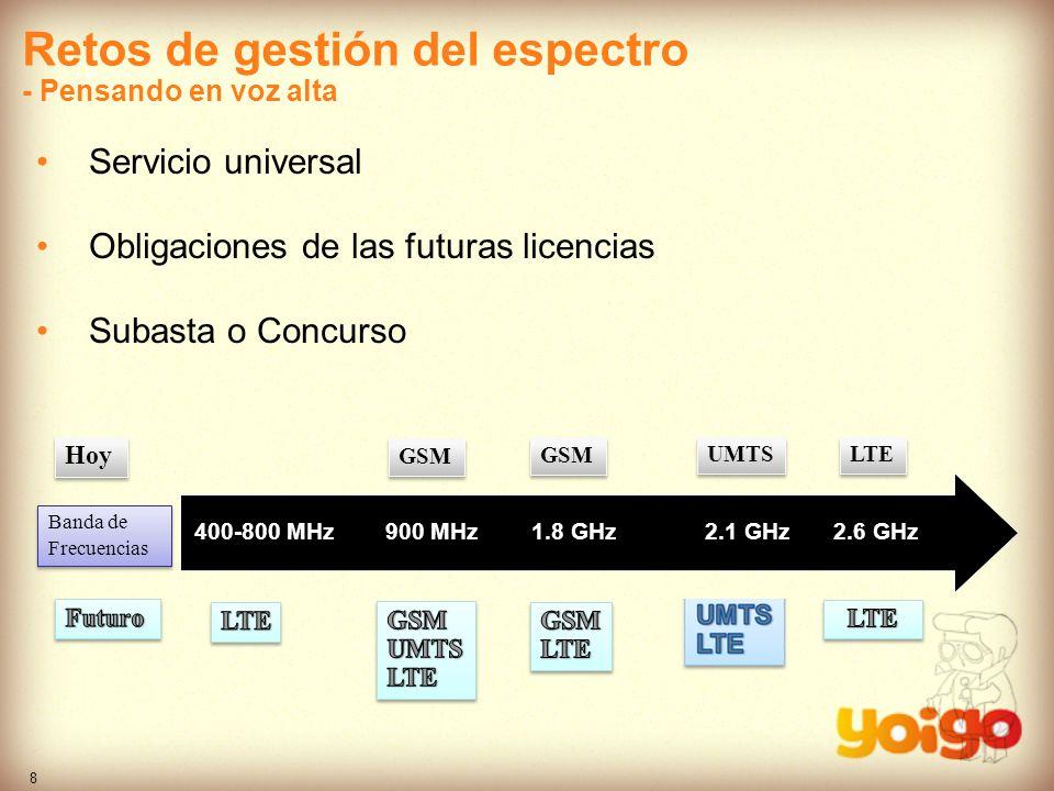 8 Retos de gestión del espectro - Pensando en voz alta Servicio universal Obligaciones de las futuras licencias Subasta o Concurso 900 Mhz1,8 Ghz2,1 G