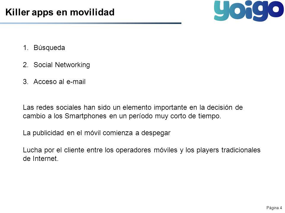Página 4 Killer apps en movilidad 1.Búsqueda 2.Social Networking 3.Acceso al e-mail Las redes sociales han sido un elemento importante en la decisión