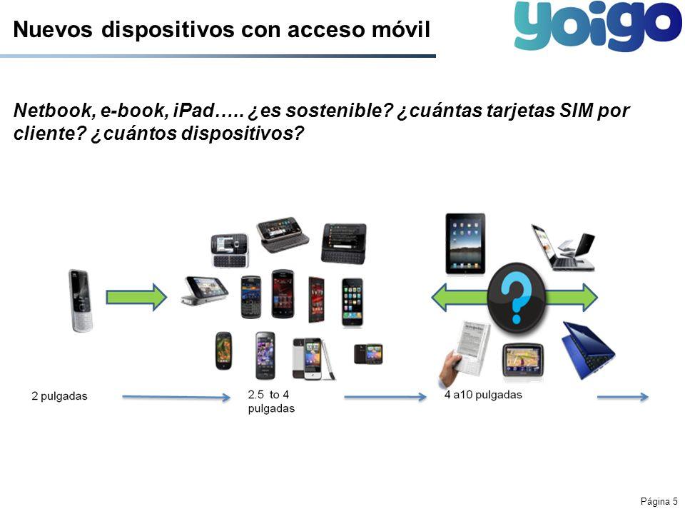 Página 5 Nuevos dispositivos con acceso móvil Netbook, e-book, iPad….. ¿es sostenible? ¿cuántas tarjetas SIM por cliente? ¿cuántos dispositivos?
