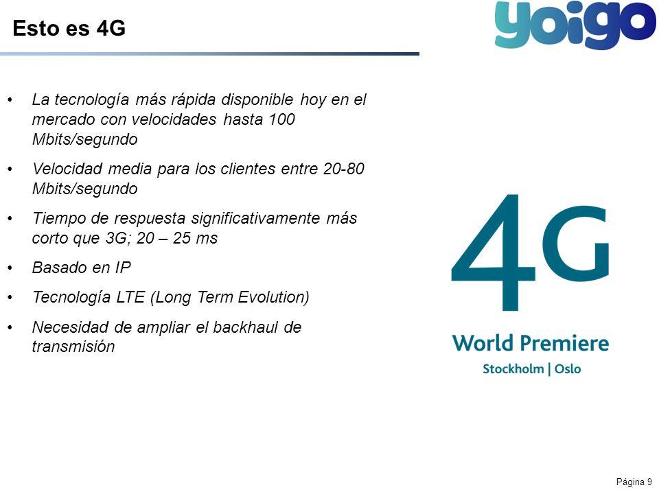 Página 9 Esto es 4G La tecnología más rápida disponible hoy en el mercado con velocidades hasta 100 Mbits/segundo Velocidad media para los clientes en