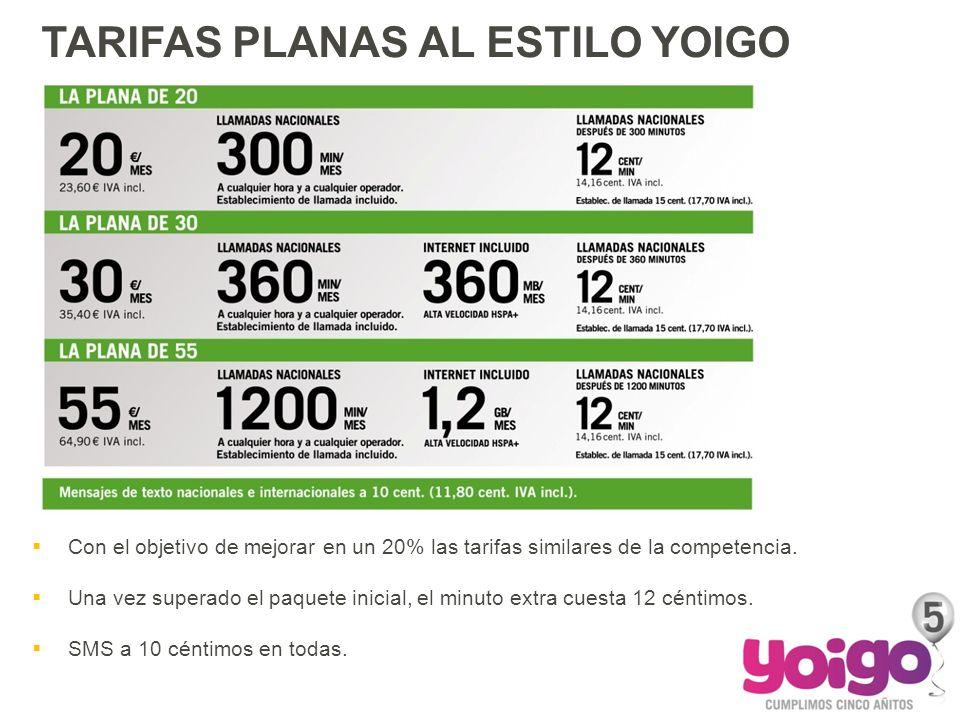 Y TAN SENCILLO COMO SIEMPRE TARIFAS PLANAS AL ESTILO YOIGO Con el objetivo de mejorar en un 20% las tarifas similares de la competencia. Una vez super
