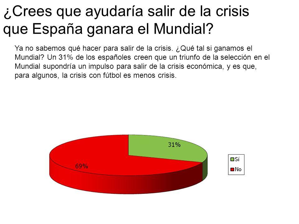 ¿Crees que ayudaría salir de la crisis que España ganara el Mundial.