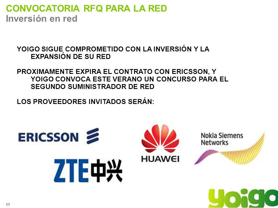11 CONVOCATORIA RFQ PARA LA RED Inversión en red YOIGO SIGUE COMPROMETIDO CON LA INVERSIÓN Y LA EXPANSIÓN DE SU RED PROXIMAMENTE EXPIRA EL CONTRATO CON ERICSSON, Y YOIGO CONVOCA ESTE VERANO UN CONCURSO PARA EL SEGUNDO SUMINISTRADOR DE RED LOS PROVEEDORES INVITADOS SERÁN: