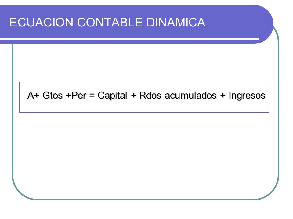 ECUACION CONTABLE DINAMICA A+ Gtos +Per = Capital + Rdos acumulados + Ingresos