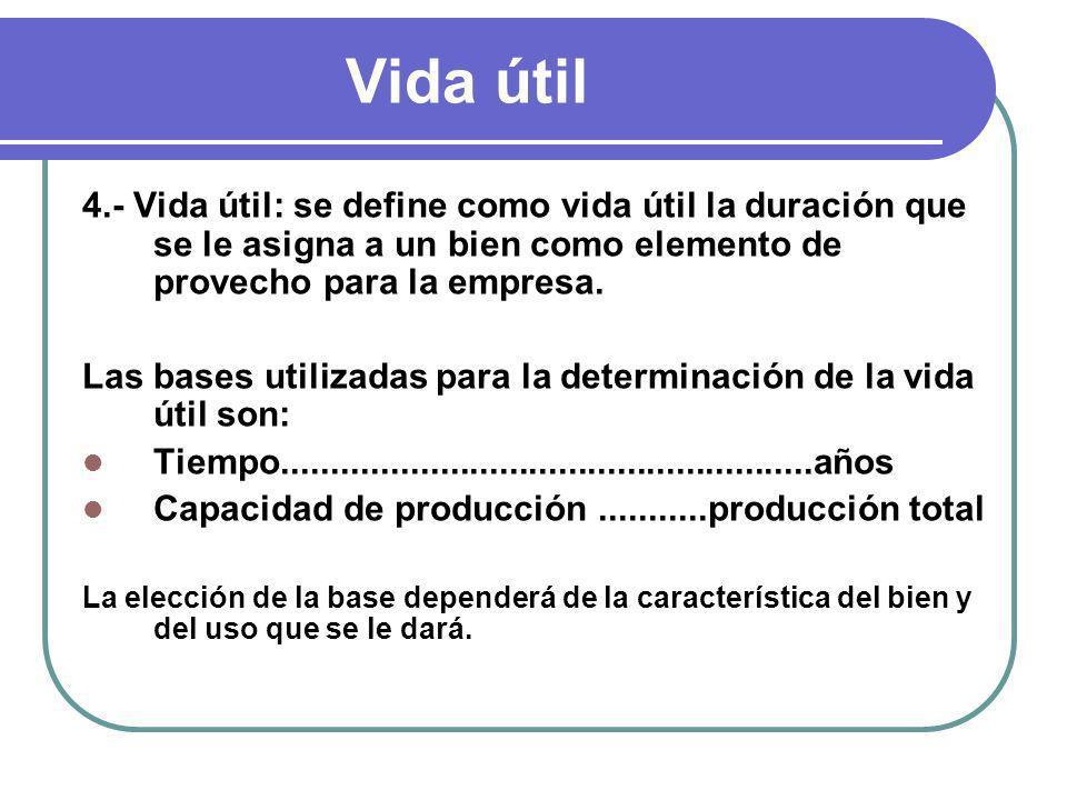 Vida útil 4.- Vida útil: se define como vida útil la duración que se le asigna a un bien como elemento de provecho para la empresa. Las bases utilizad