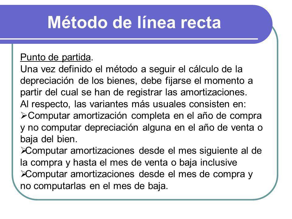 Método de línea recta Punto de partida. Una vez definido el método a seguir el cálculo de la depreciación de los bienes, debe fijarse el momento a par