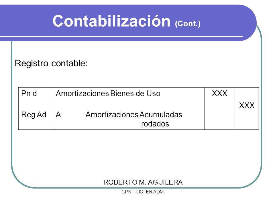 Contabilización (Cont.) Registro contable: Pn dAmortizaciones Bienes de UsoXXX Reg AdA Amortizaciones Acumuladas rodados XXX ROBERTO M. AGUILERA CPN –