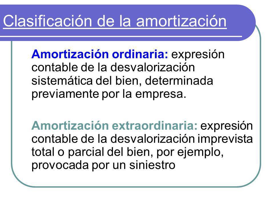 Clasificación de la amortización Amortización ordinaria: expresión contable de la desvalorización sistemática del bien, determinada previamente por la