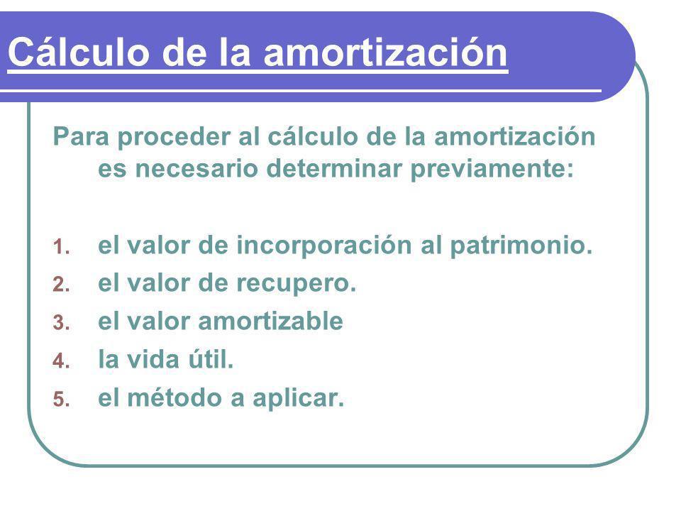 Cálculo de la amortización Para proceder al cálculo de la amortización es necesario determinar previamente: 1. el valor de incorporación al patrimonio