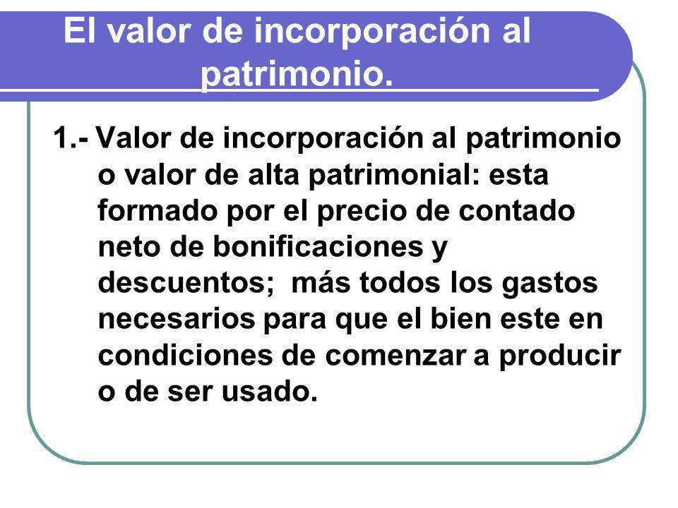 El valor de incorporación al patrimonio. 1.- Valor de incorporación al patrimonio o valor de alta patrimonial: esta formado por el precio de contado n