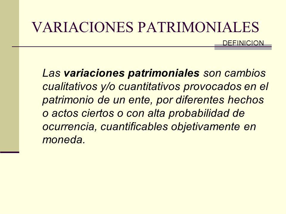VARIACIONES PATRIMONIALES Las variaciones patrimoniales son cambios cualitativos y/o cuantitativos provocados en el patrimonio de un ente, por diferen