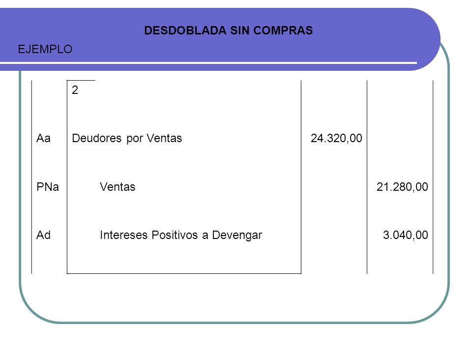 2 AaDeudores por Ventas24.320,00 PNaVentas21.280,00 AdIntereses Positivos a Devengar3.040,00 DESDOBLADA SIN COMPRAS EJEMPLO