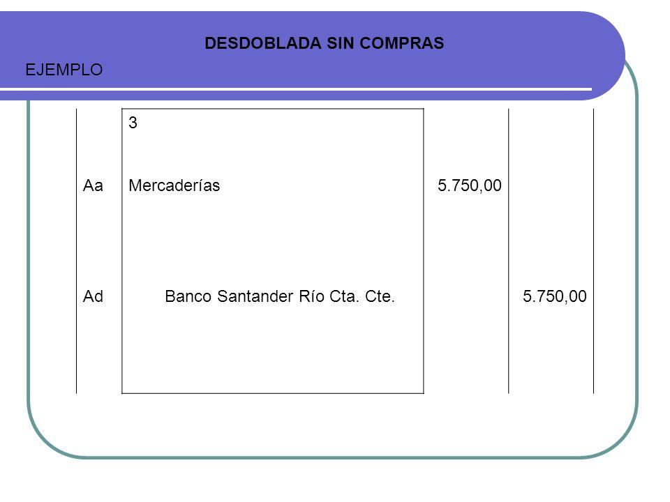 3 AaMercaderías5.750,00 AdBanco Santander Río Cta. Cte.5.750,00 DESDOBLADA SIN COMPRAS EJEMPLO