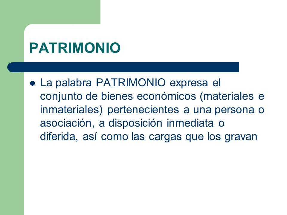PATRIMONIO La palabra PATRIMONIO expresa el conjunto de bienes económicos (materiales e inmateriales) pertenecientes a una persona o asociación, a dis