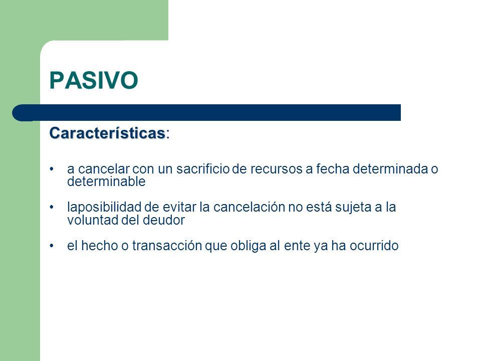 PASIVO Características Características: a cancelar con un sacrificio de recursos a fecha determinada o determinable laposibilidad de evitar la cancela