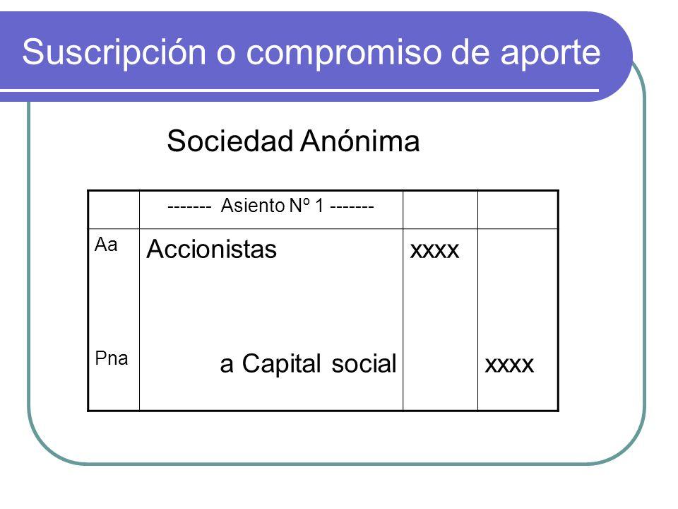 Suscripción o compromiso de aporte Sociedad Anónima ------- Asiento Nº 1 ------- Aa Accionistasxxxx Pna a Capital socialxxxx
