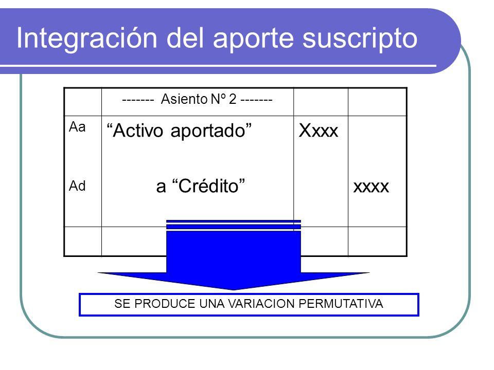 Integración del aporte suscripto ------- Asiento Nº 2 ------- Aa Ad Activo aportado a Crédito Xxxx xxxx ESTA VARIACION PERMUTATIVA ES INDEPENDIENTE AL TIPO SOCIAL EN QUE SE ESTE PRODUCIENDO