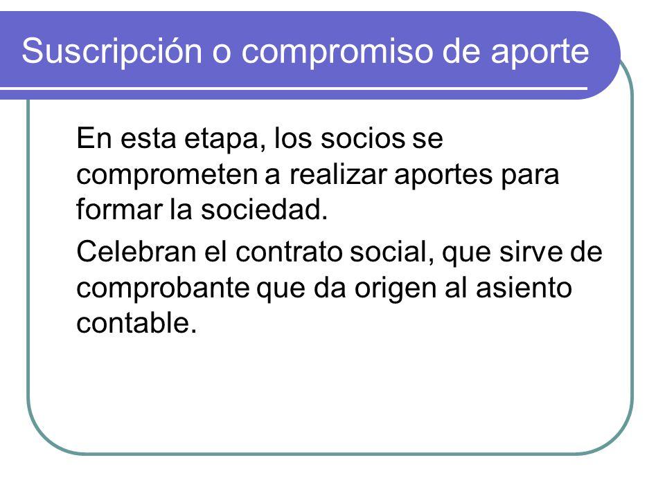 Suscripción o compromiso de aporte Existen distintos tipos de sociedades, pero en todas el asiento de suscripción o compromiso de aporte se formara de la siguiente forma: