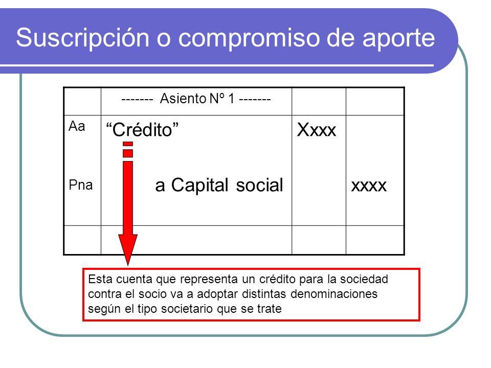 Suscripción o compromiso de aporte ------- Asiento Nº 1 ------- Aa Pna Crédito a Capital social Xxxx xxxx Esta cuenta que representa un crédito para l