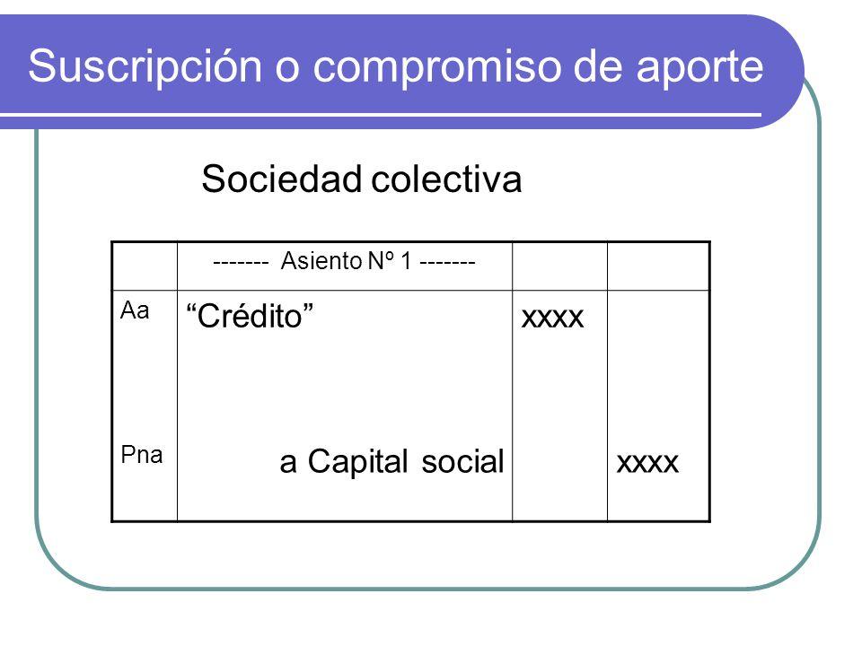 Suscripción o compromiso de aporte Sociedad colectiva ------- Asiento Nº 1 ------- Aa Créditoxxxx Pna a Capital socialxxxx